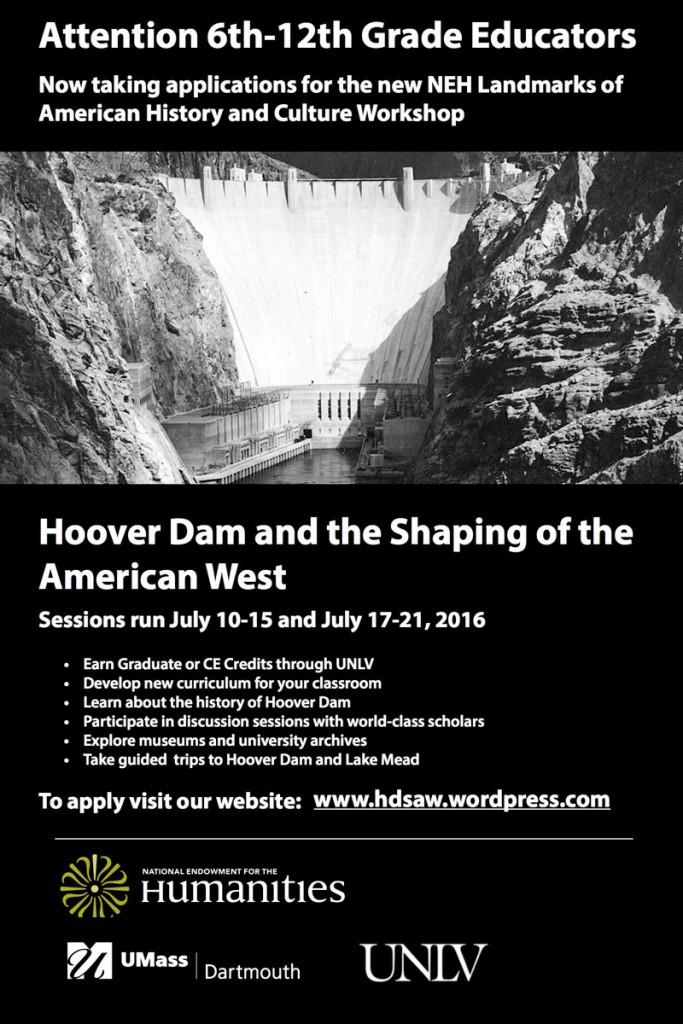 Hoover Dam NEH Educator Workshop Flyer