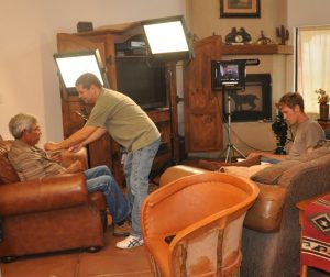 Setting up for an interview with Fred Mayer by Bryce for Voices of Vail