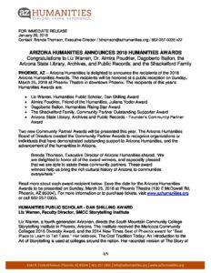 az humanities 2018 arizona humanities awards announcement press